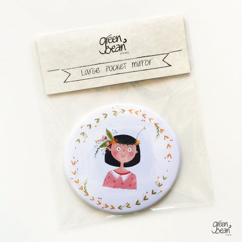 Fun illustrated pocket mirror for black hair - green bean studio