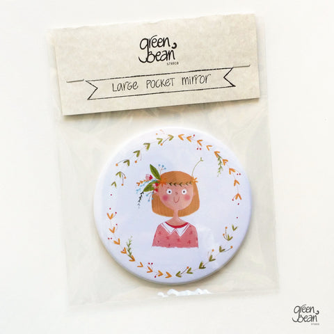 Fun illustrated pocket mirror for blonde hair - green bean studio