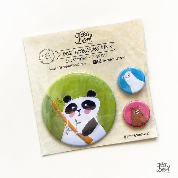 Panda - Bear Necessities funny pocket mirror and button kit
