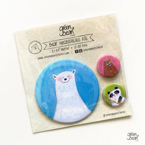 Bear Necessities funny pocket mirror and button kit