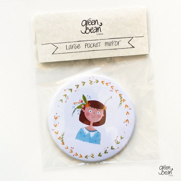 Fun illustrated pocket mirror for brown hair - green bean studio