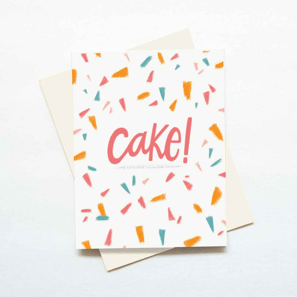 cake confetti birthday card simple