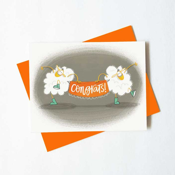 Dancing sheep congratulations card