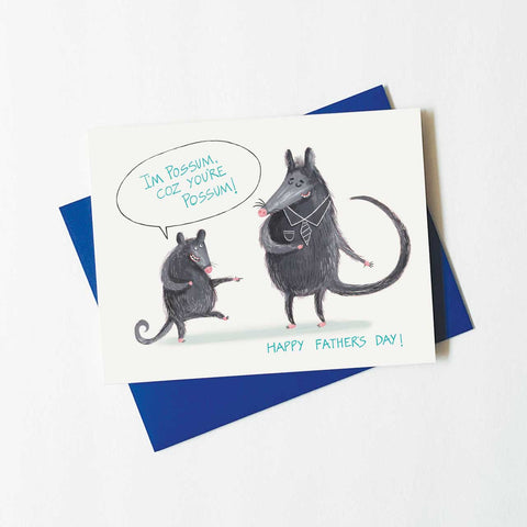 funny possum card - father's day
