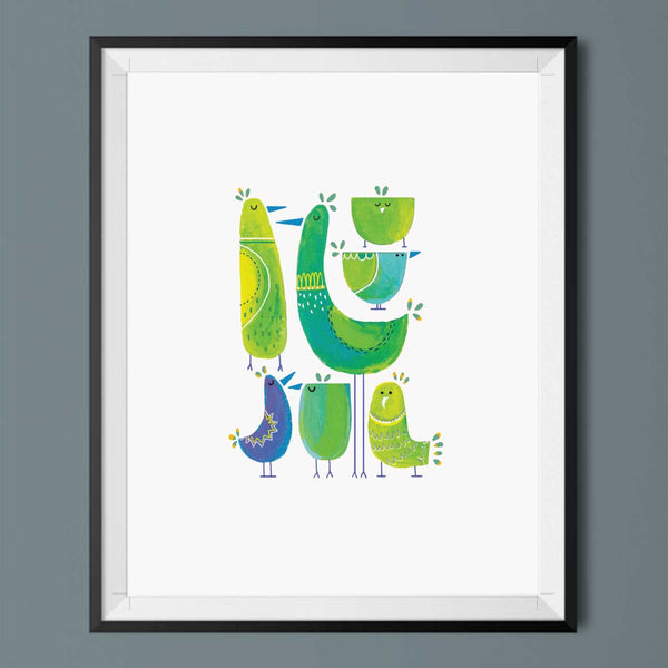 illustrated green bird art print