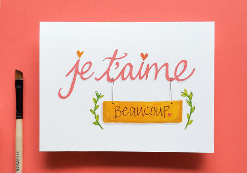 Je t'aime - I love you french card
