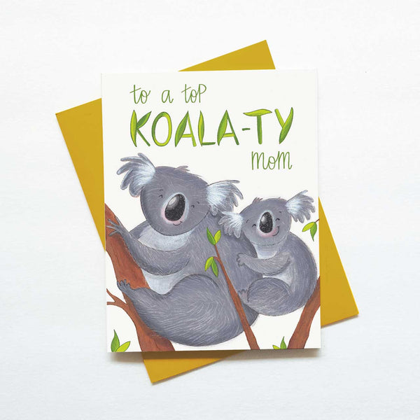 Cute koala bear mothers day card - koala-ty mom card