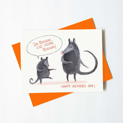 awesome possum - mother's day card - green bean studio