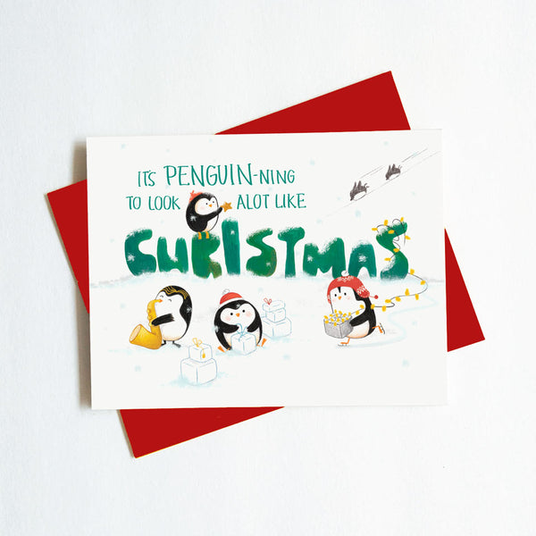 cute penguin holiday card