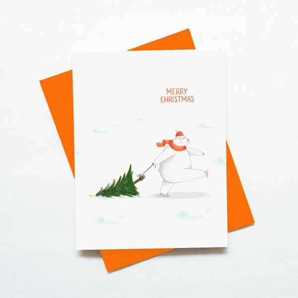 Cute Polar Bear Christmas Tree Card