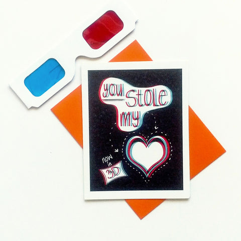 You stole my heart 3D card with glasses
