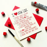 I love you coz -love card with funny list of reasons