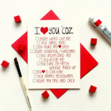 I love you coz -Anniversary/ love card with funny list of reasons