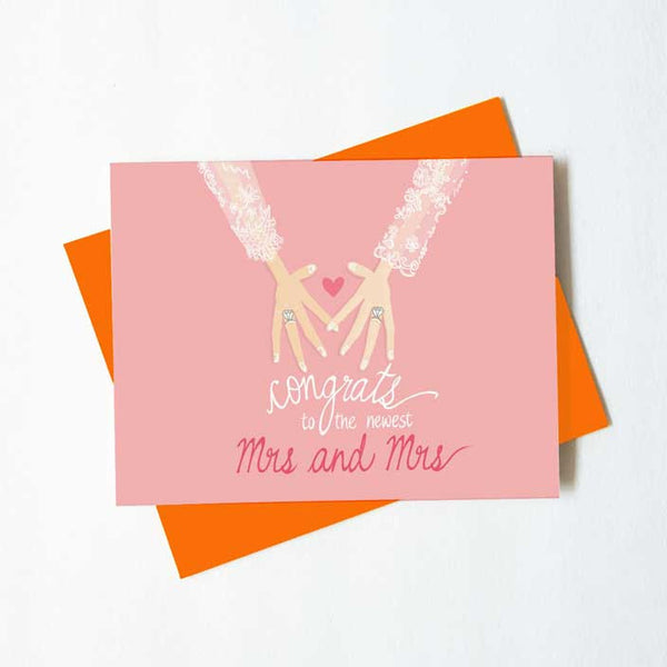 Mrs. and Mrs. wedding congratulations card