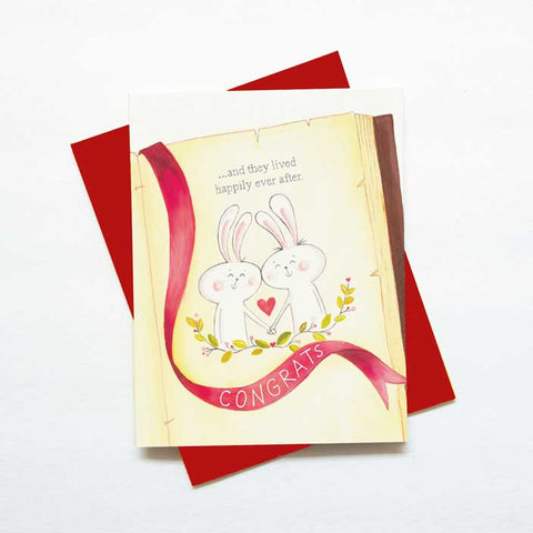 Fairy tale love cute bunny wedding card - green bean studio