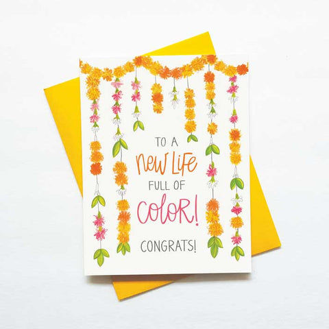 New colorful life - wedding card