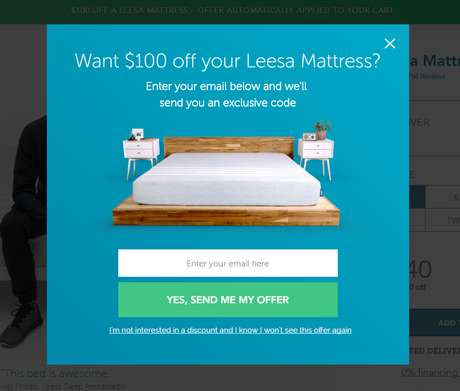 3. Want $100 off your Leesa Mattress?