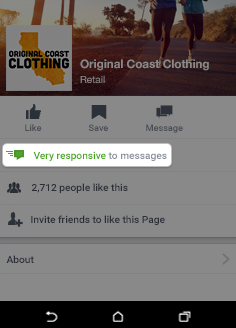Page responsiveness badge on Facebook