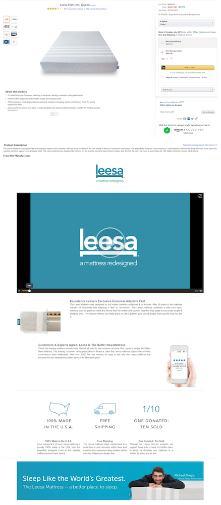 7. Leesa on Amazon