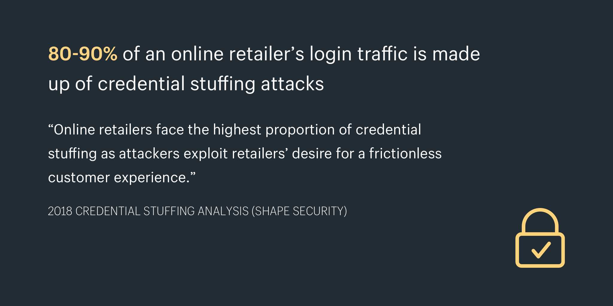 80-90% of an online retailer's login traffic is made up of credential stuffing attacks