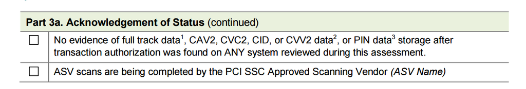 Screenshot from PCI SAQ/AOC A form