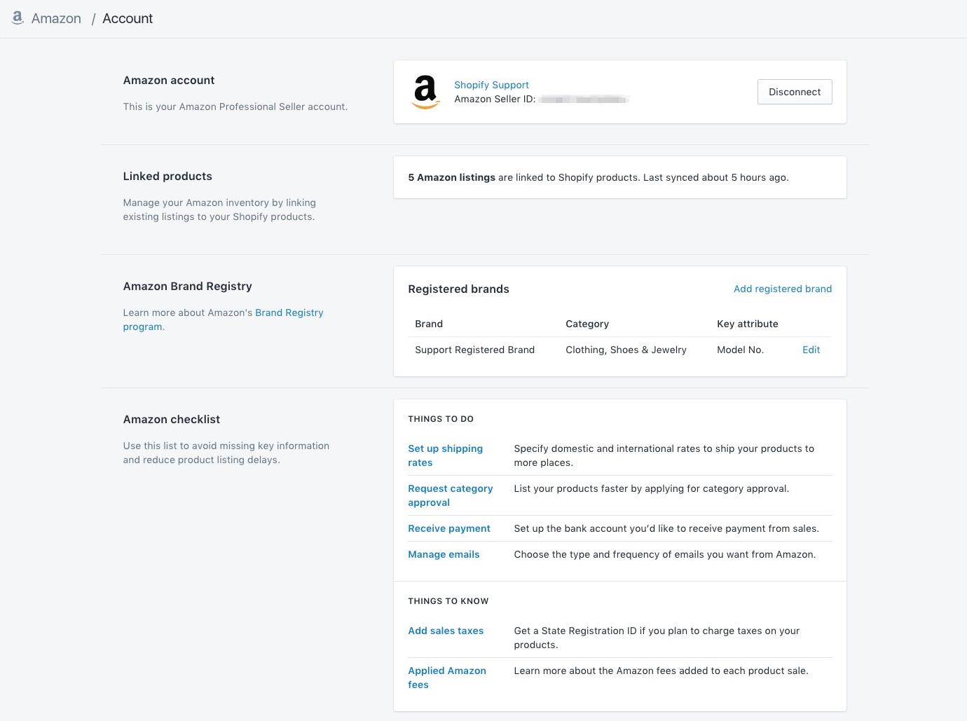 A connected account through Shopify's multi-channel ecommerce software Amazon
