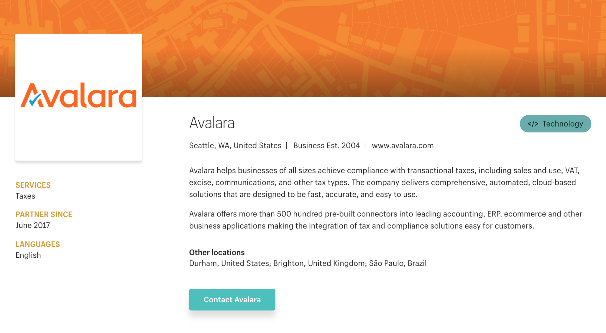 Avalara partner page economic nexus state sales tax automation