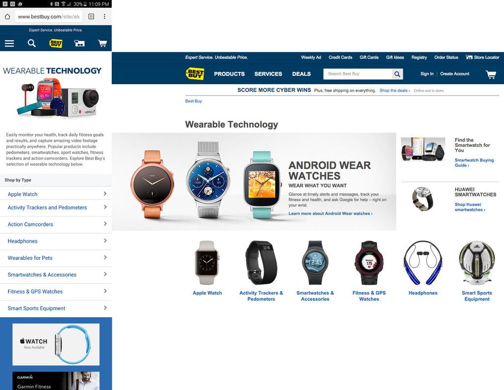 Screenshot of BestBuy.com - desktop and mobile view