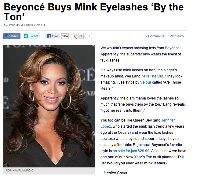 Beyonce buys Velour Lashes by the ton article screenshot