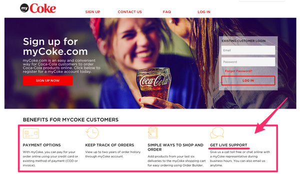 Coca Cola B2B ecommerce strategy live chat mycoke.com