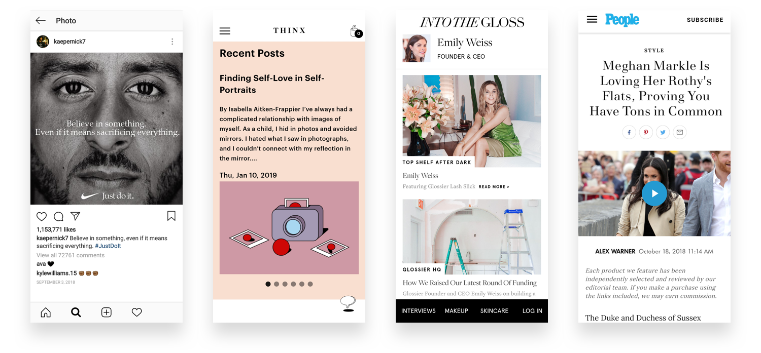 Nike's DTC social, THINX's periodical blog, Glossier's Into the Gloss, and Rothy's earned media