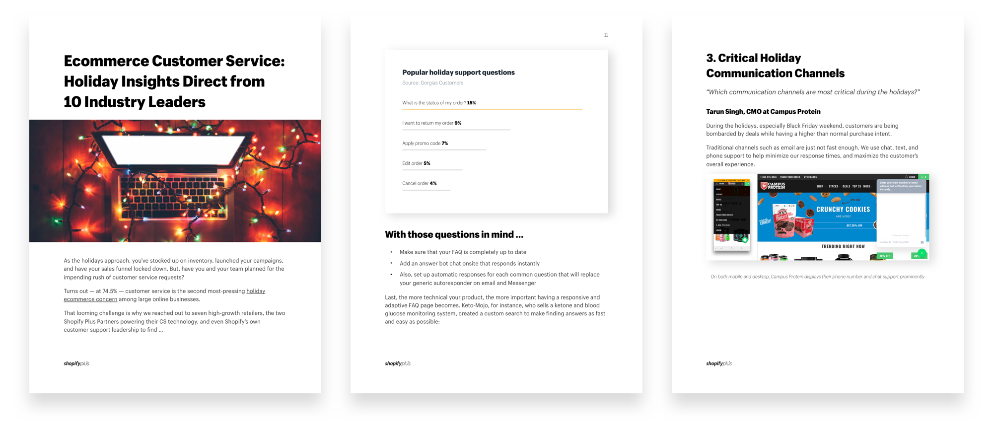 Ecommerce Customer Service for the Holidays: Sample Pages