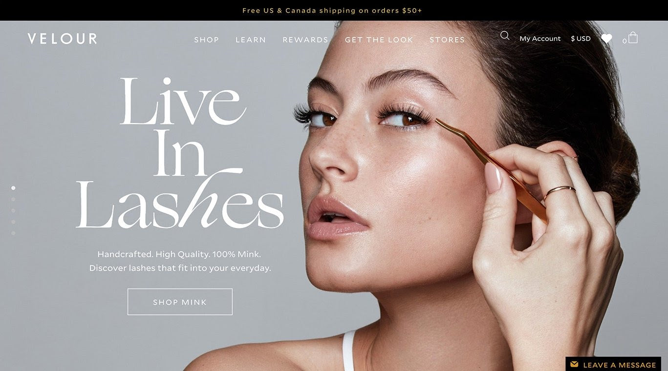 Velour Lashes first homepage on Shopify Plus