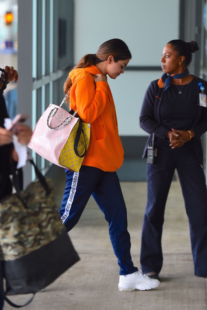 Selena Gomez sporting streetwear brands at the airport