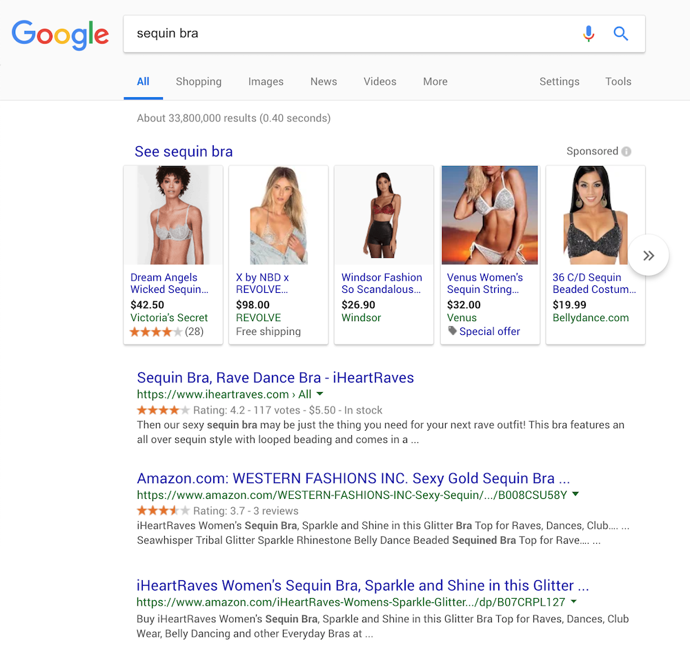 "Google Incognito results for ""sequin bra"""