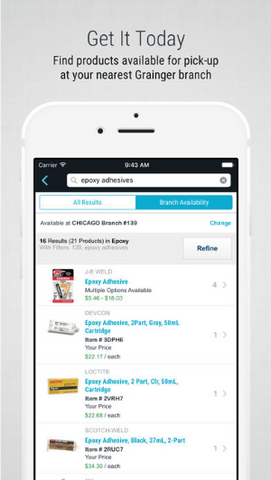 Grainger mobile app homescreen omni channel retail strategy