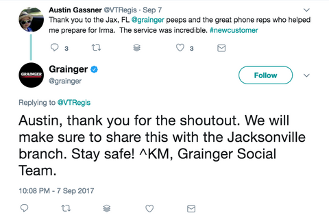 Grainger social media marketing twitter