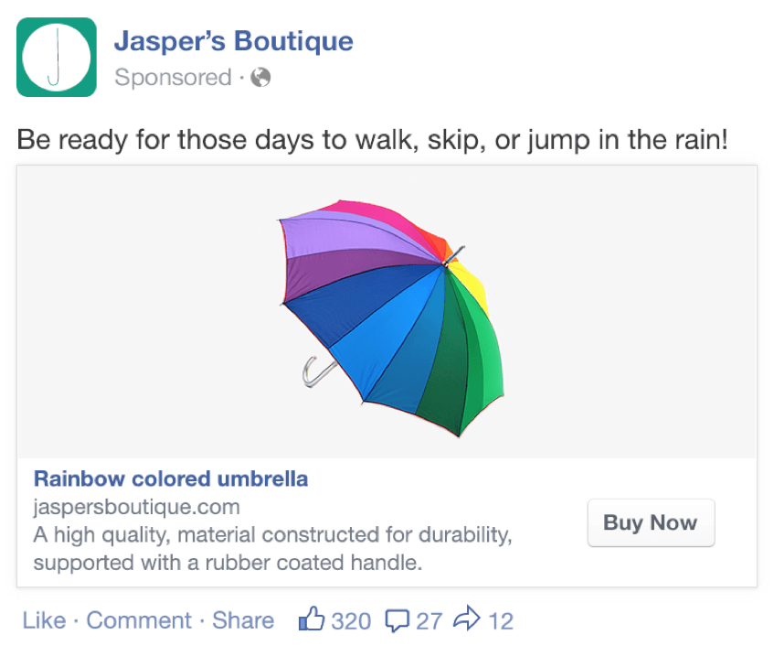 Jasper's Boutique facebook remarketing ad