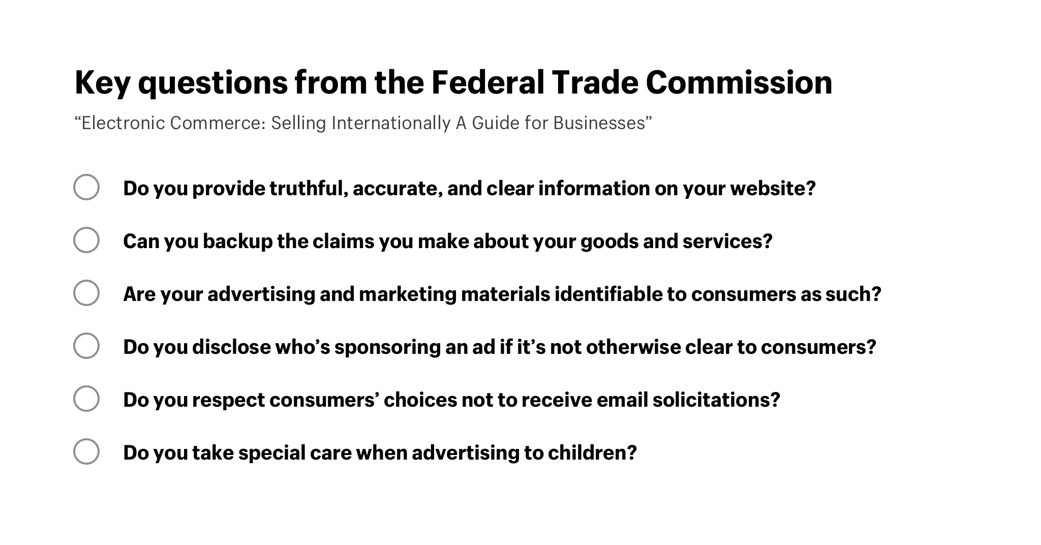 Key questions from the Federal Trade Commission