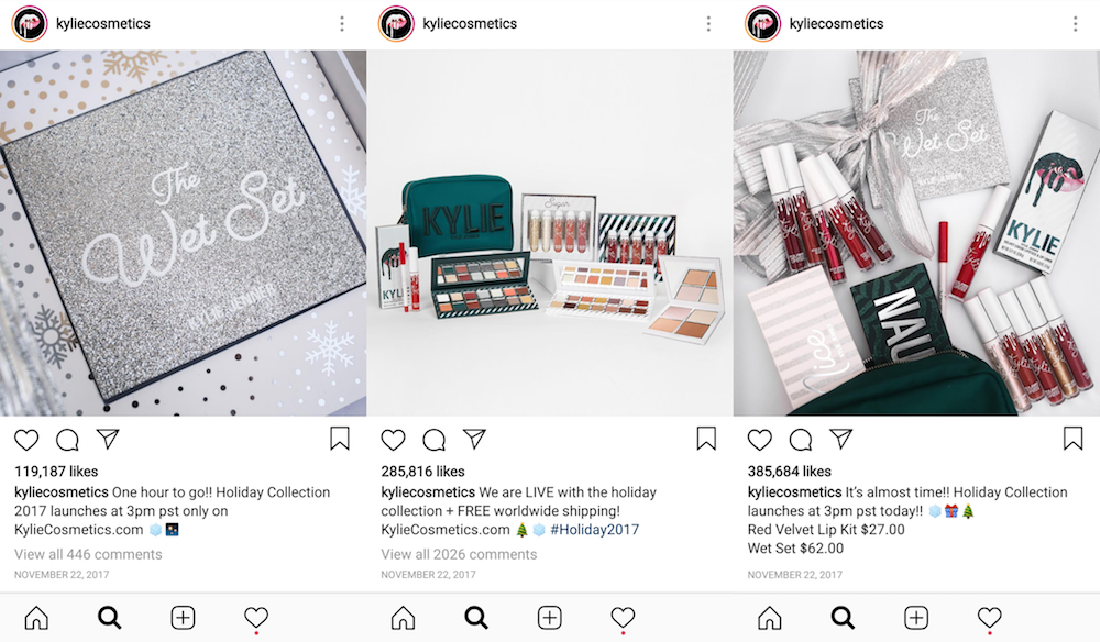 Kylie Cosmetics used exclusivity in their holiday ecommerce campaigns on Instagram
