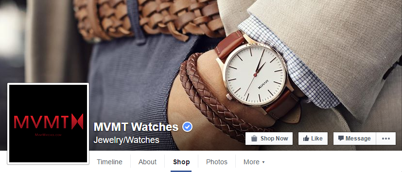Screenshot of MVMT Watches Facebook's page