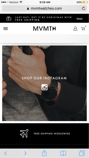 MVMT watches features Instagram