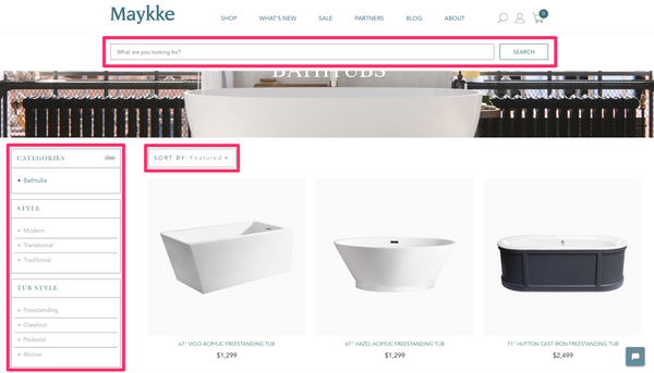 Maykke website navigation