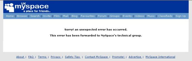 Myspace error message