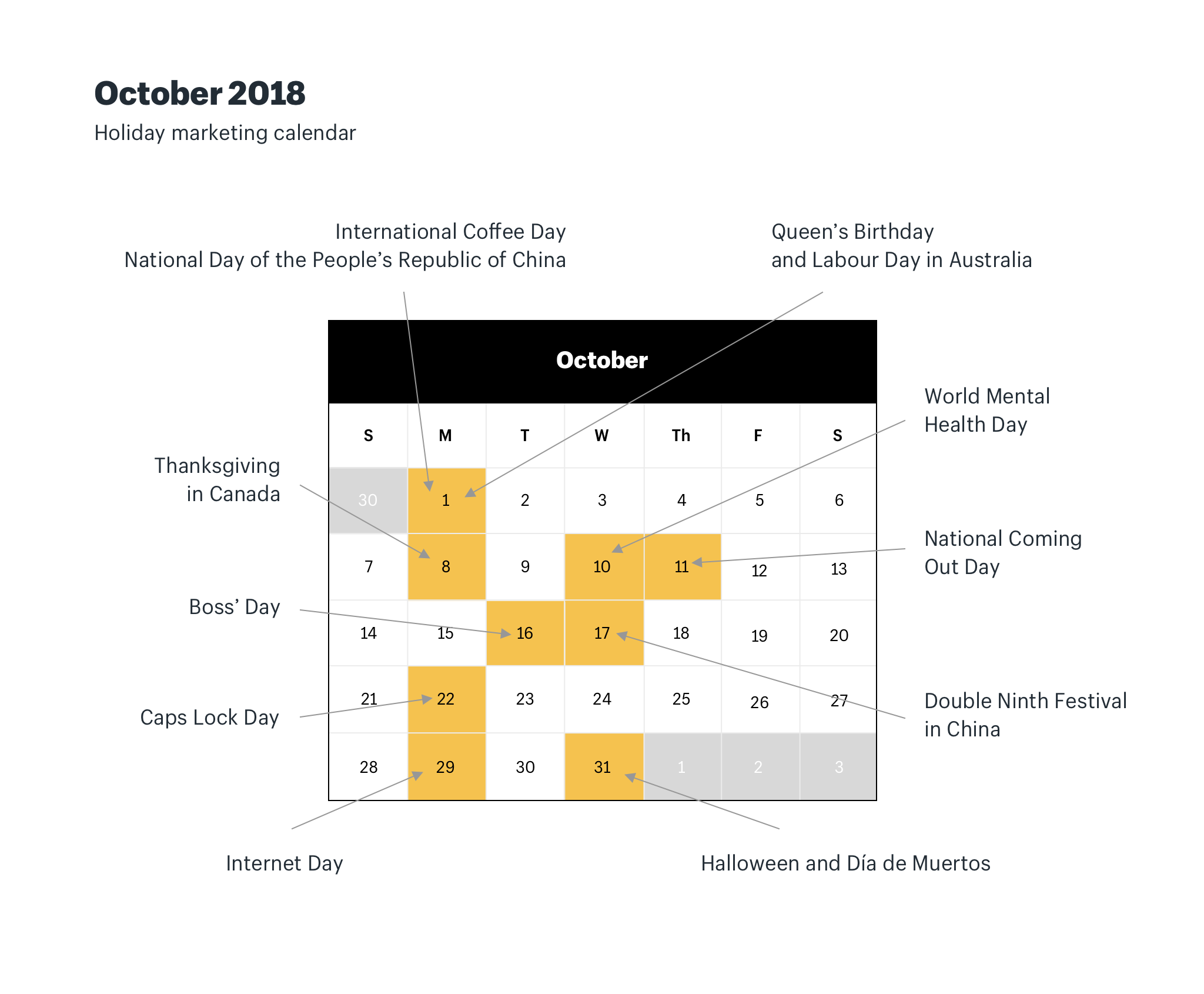 October holiday marketing calendar 2018
