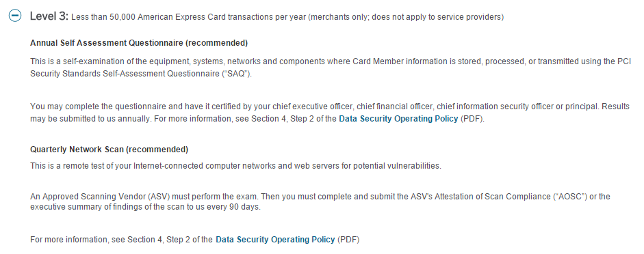 "Screenshot of American Express compliance ""levels"""
