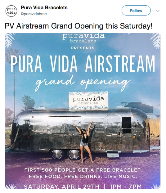 Pura Vida tweet about the Grand Opening of Airstream