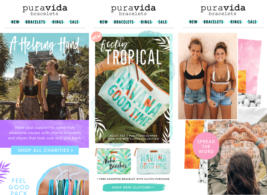 Pura Vida's ecommerce email marketing