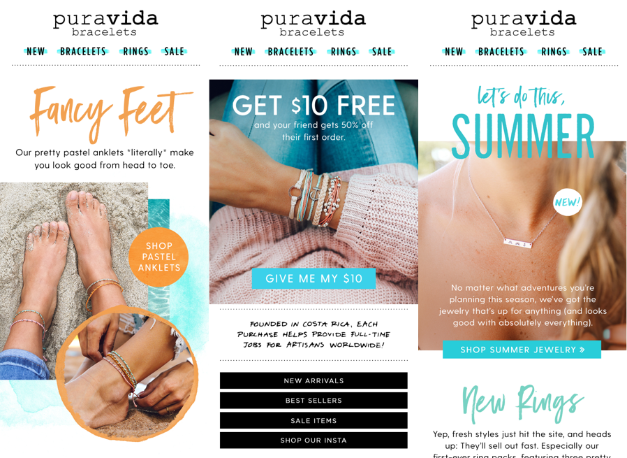 Pura Vida leverages three ecommerce tools for their email marketing