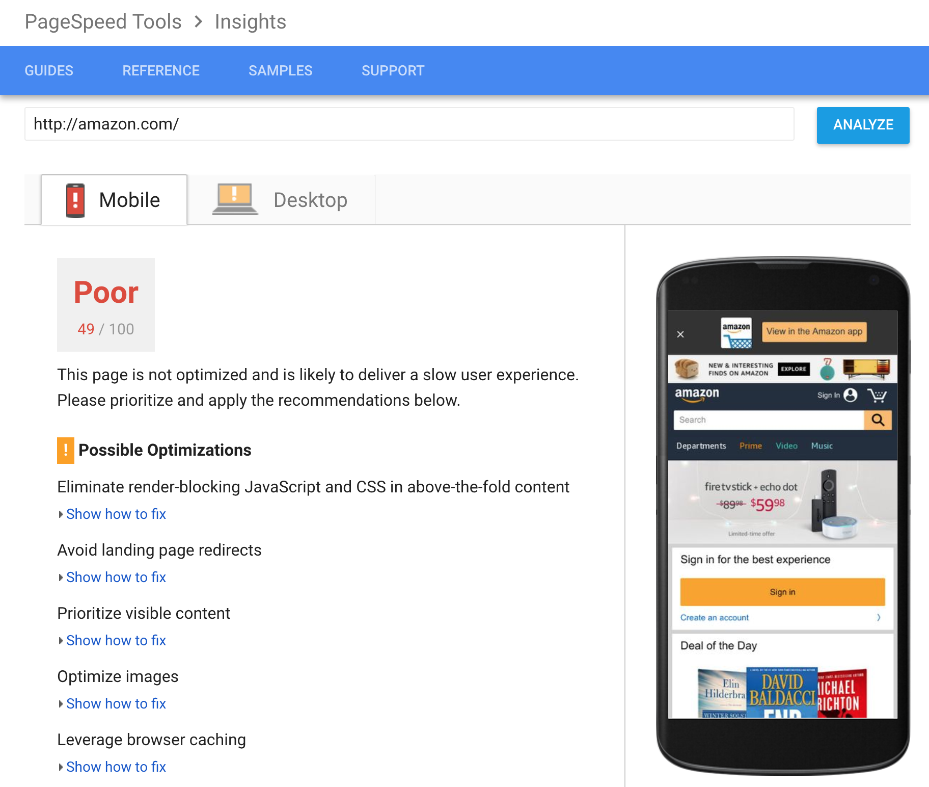 For mobile ecommerce, test your site with PageSpeed Insights